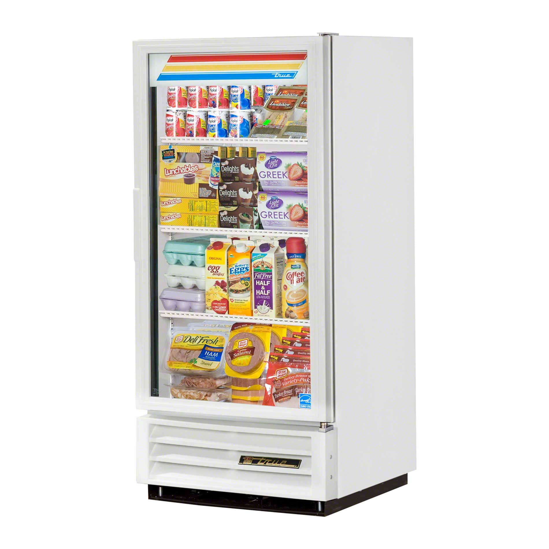 "True - GDM-10-LD WHT WHTTRM 25"" Swing Glass Door Merchandiser Refrigerator LED Commercial refrigerator sold by Food Service Warehouse"
