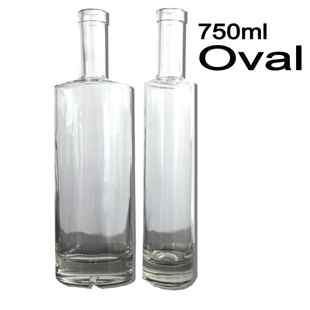 750ml Oval Liquor bottle sold by Wholesale Bottles USA