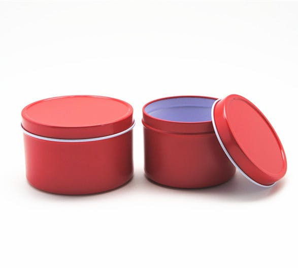 Deep Rust Proof Solid Lid Tin Can - Red Metal tins sold by Mimi Pack