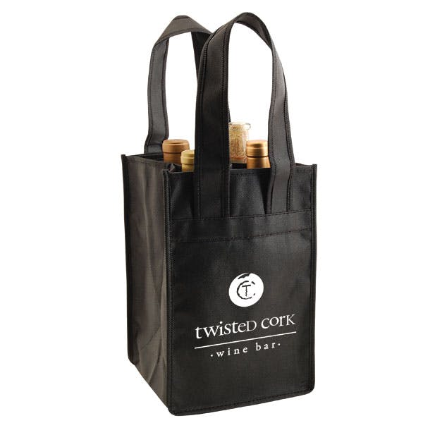 Four Bottle Nonwoven bag Wine packaging sold by The Packaging Source, Inc.