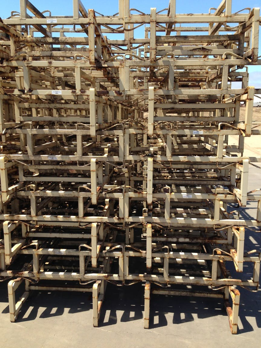 """7"""" racks-average condition - Used 7"""" double bar, two barrel racks - sold by Quality Wine Barrels"""