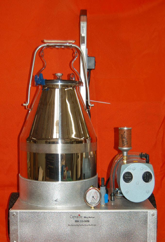 Single Milker with 6 Gal. pail Milking machine sold by Capralite Milking Machines