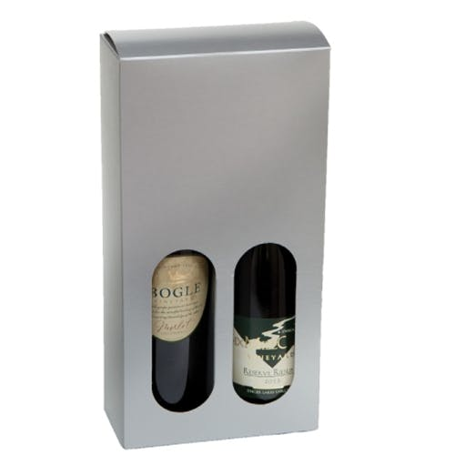 2 Bottle Gift Box - SILVER Wine box sold by Pak-it Products