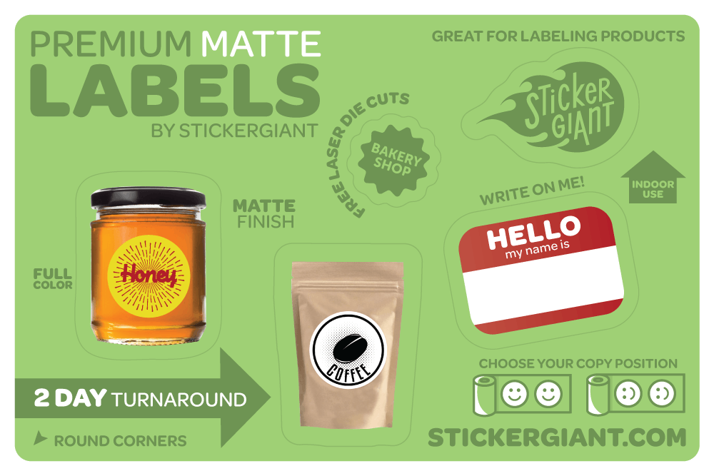 Matte Labels Bottle label sold by StickerGiant