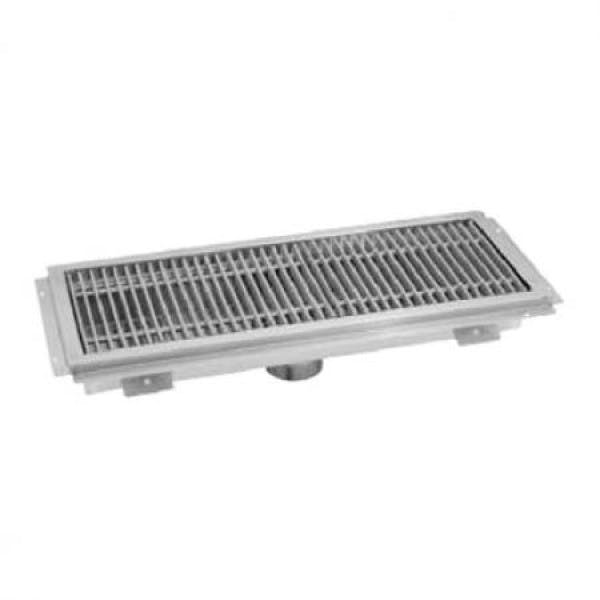 "12"" x 24"" Stainless Floor Water Receptacle w/ Stainless Subway Grate"