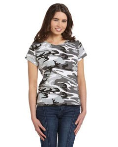 3665 Code Five Ladies' Fine Jersey Camouflage T-Shirt Promotional shirt sold by Lee Marketing Group