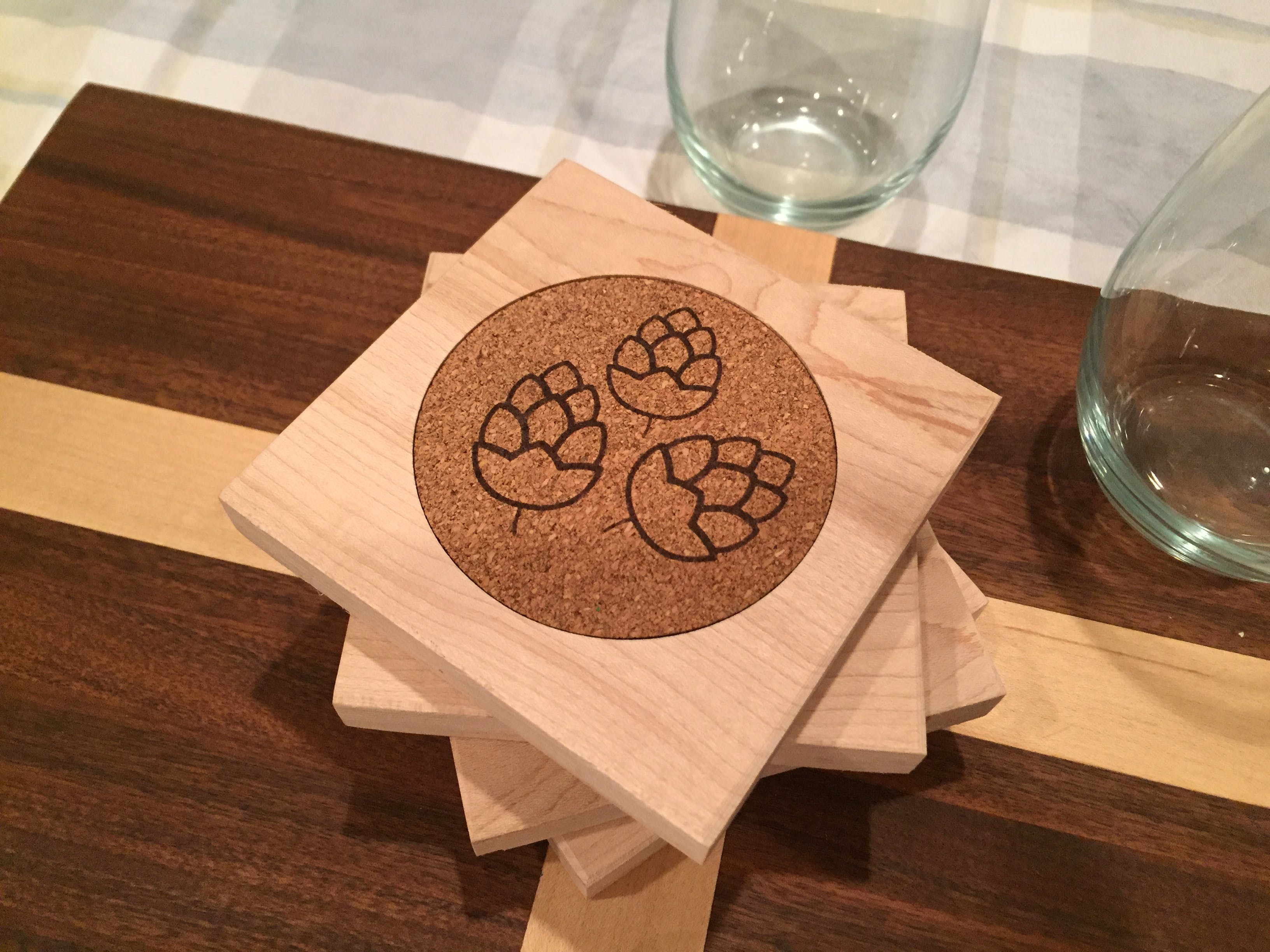 Custom Wood Drink coasters - sold by Park Hill Country