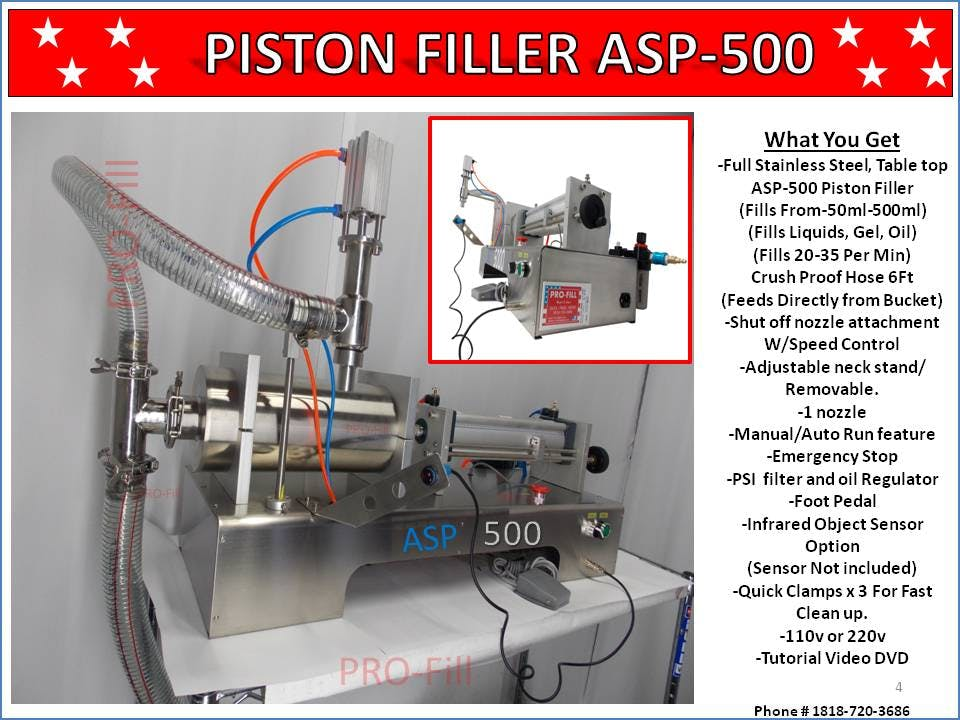 ASP-500 (Advanced Suction Pump) - ASP-500 Single Head Electric & Air Piston Filler /Fills Liquid, Oil, Gel - sold by Pro Fill Equipment