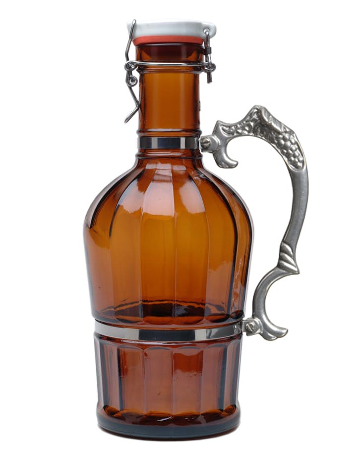 #707 Amber 2L German Growler Classic with Grapevine Handle Growler sold by Tote Glass