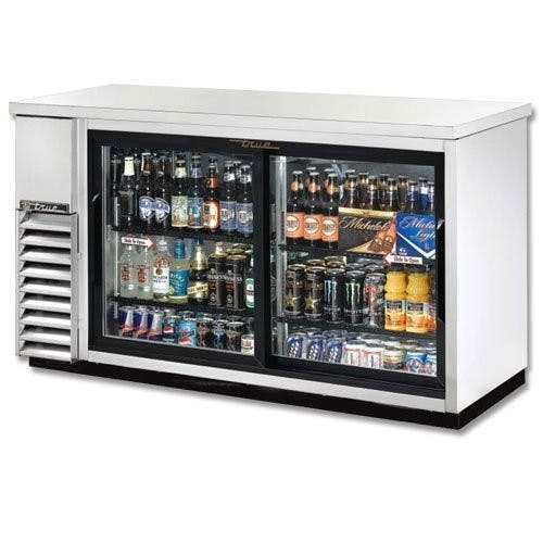 True Manufacturing TBB-24-60G-SD-S-LD Back Bar Cooler, 2 Sliding Glass Doors, Holds 102 6-Packs or 3 Kegs, Stainless Back bar cooler sold by Mission Restaurant Supply