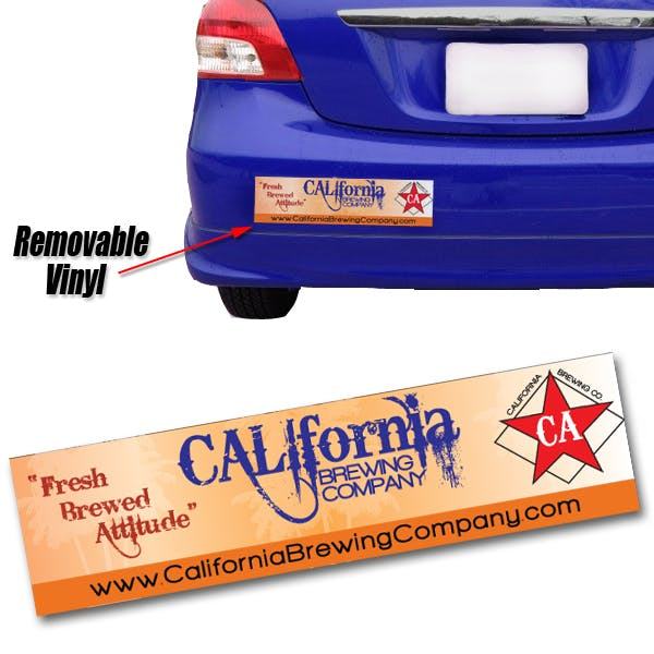 Full Color Removable Bumper Sticker: 11 1/2 x 3 Promotional sticker sold by MicrobrewMarketing.com