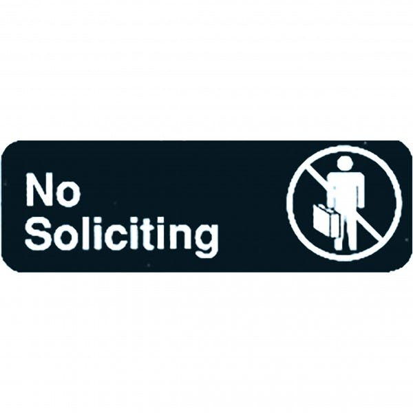 "9"" x 3"" Black Plastic ""No Soliciting"" Sign"