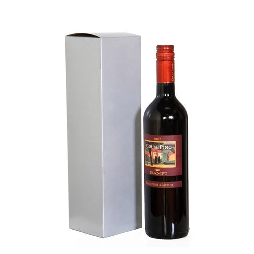 1 Bottle Wine Box - SILVER Wine box sold by Pak-it Products