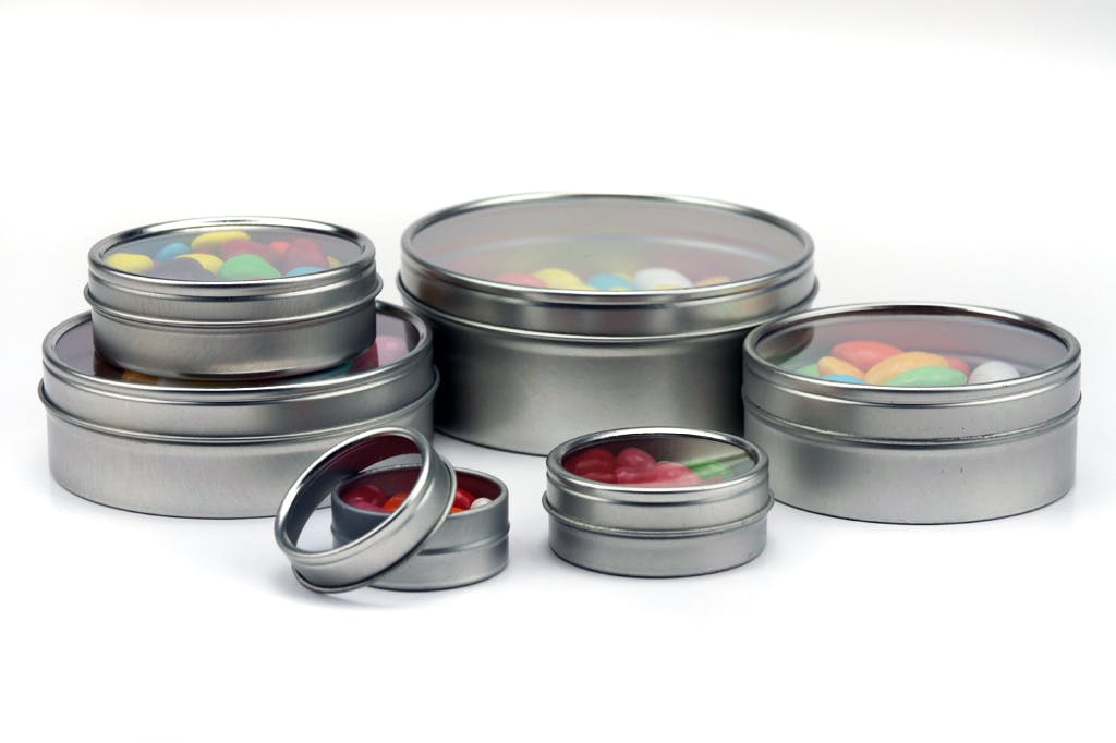 Shallow Window Tin Can - Silver Metal tins sold by Mimi Pack