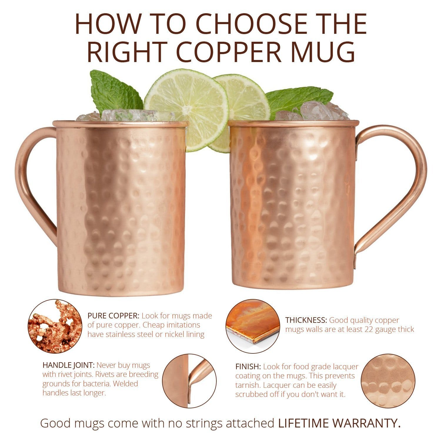 Moscow Mule Copper Mugs Set of 4 - 16 Ounce with 4 Artisan Hand Crafted Wooden Coasters (Classic) by Advanced Mixology - sold by Advanced Mixology