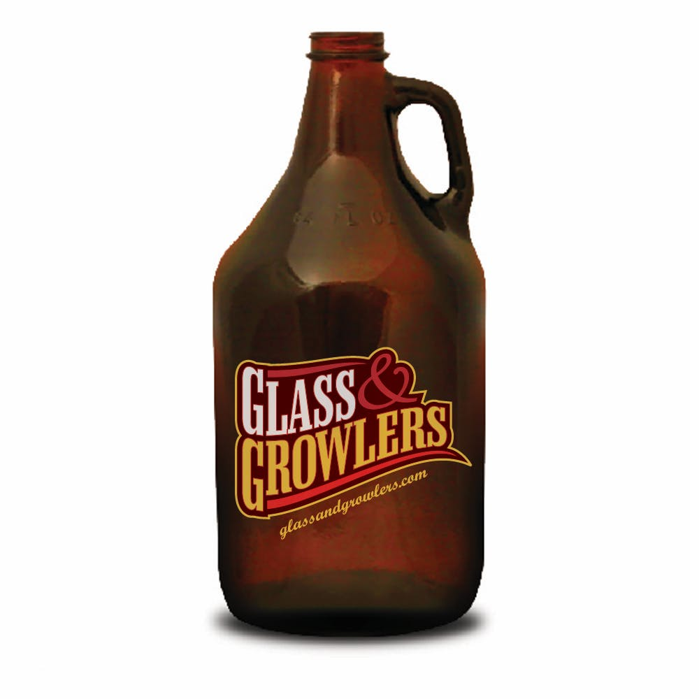 64 oz Amber Growler with Handle Growler sold by Glass and Growlers
