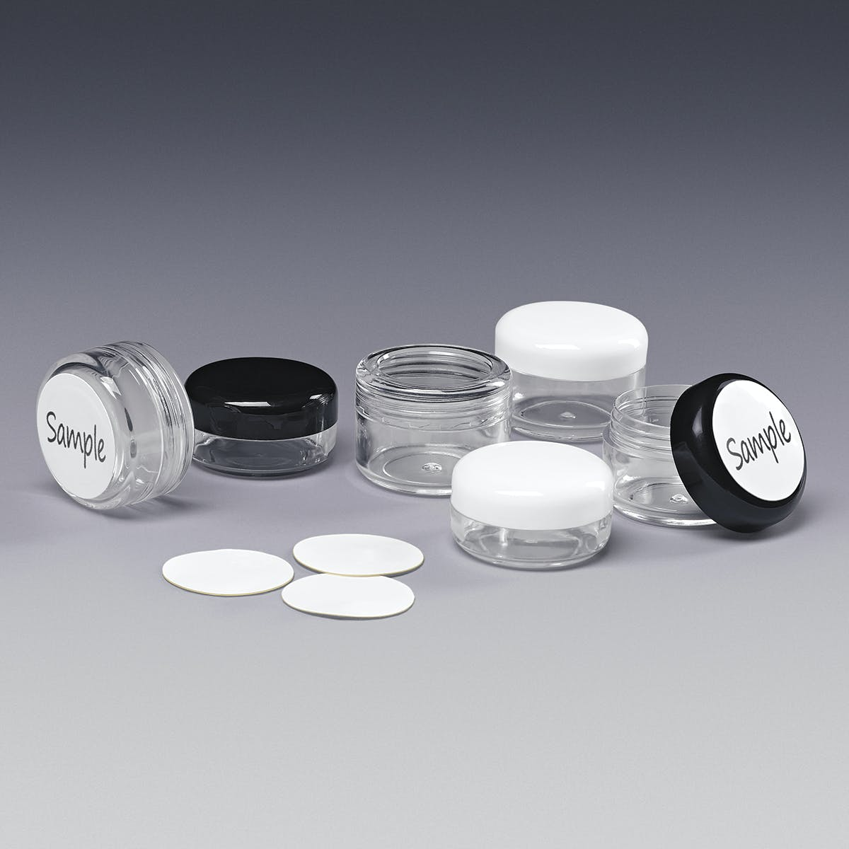 Jars with Writeable Labels Plastic jar sold by Qosmedix