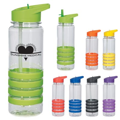 24 Oz. Banded Gripper Bottle With Straw Promotional water bottle sold by Ink Splash Promos™, LLC