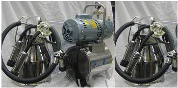 3/4 HP Mini-Milker milking machine for COWS with TWO 4 gal Stainless bucket assemblies