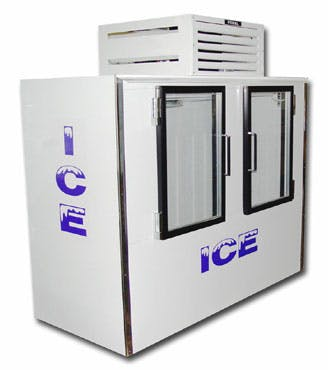 ICB-2-GL, Fogel double glass door Merchandiser Ice machine sold by Easy Refrigeration Company