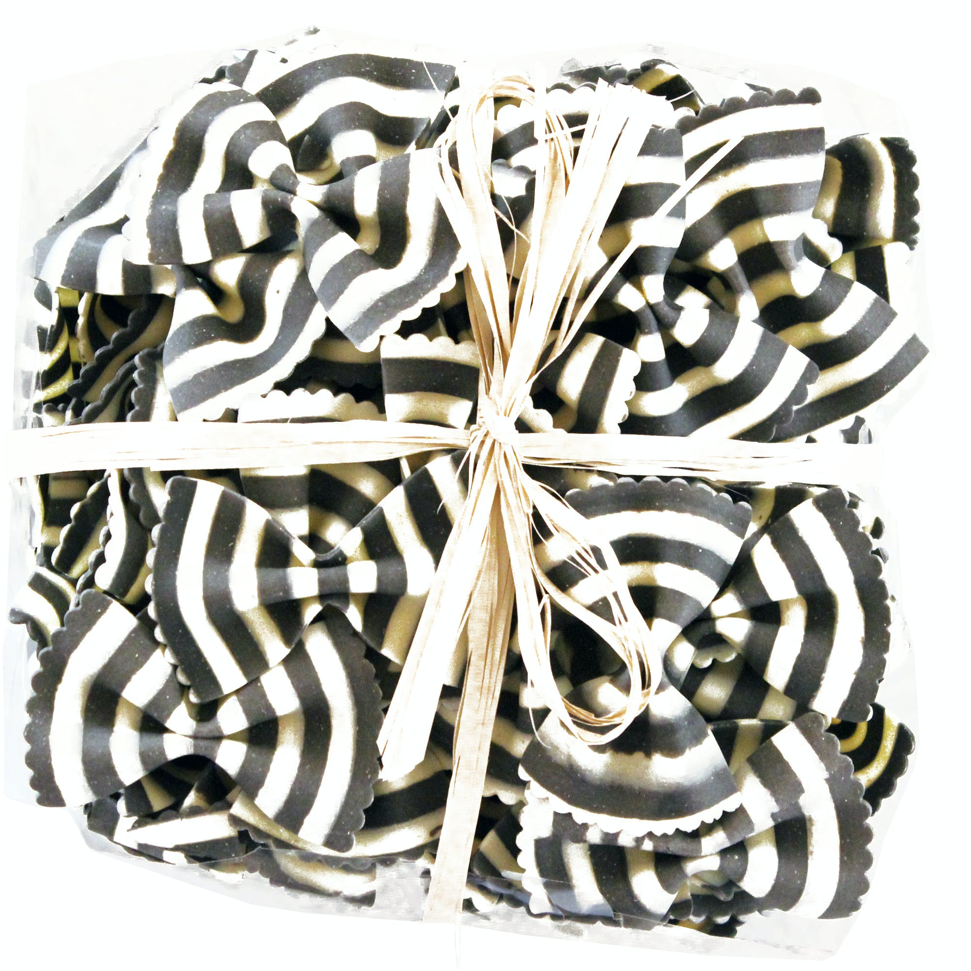 "Limited Edition Zebra Bowties ""Farfalle Magia Bianca"" Colored Pasta w/ Raffia Ribbon Pasta sold by M5 Corporation"