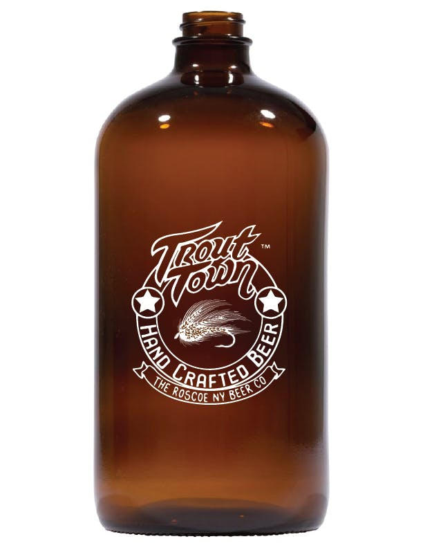 446H - 32 oz Amber Boston Round Growler sold by ARTon Products