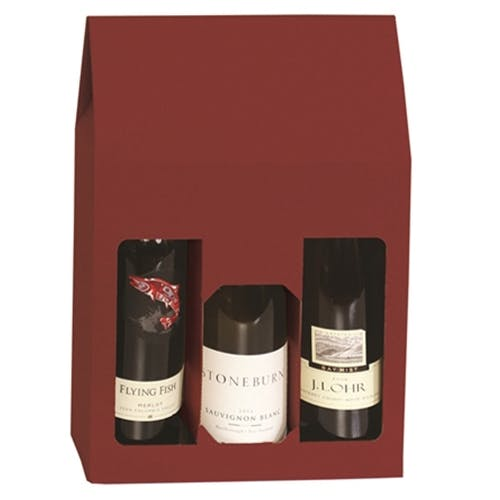 3 Bottle Gift Box - BURGUNDY Wine box sold by Pak-it Products