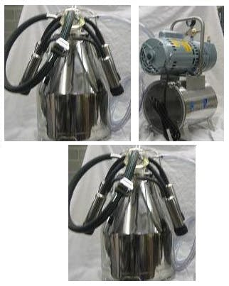 3/4 HP Mini-Milker milking machine for COWS with TWO 7.5 gal Stainless bucket assembies