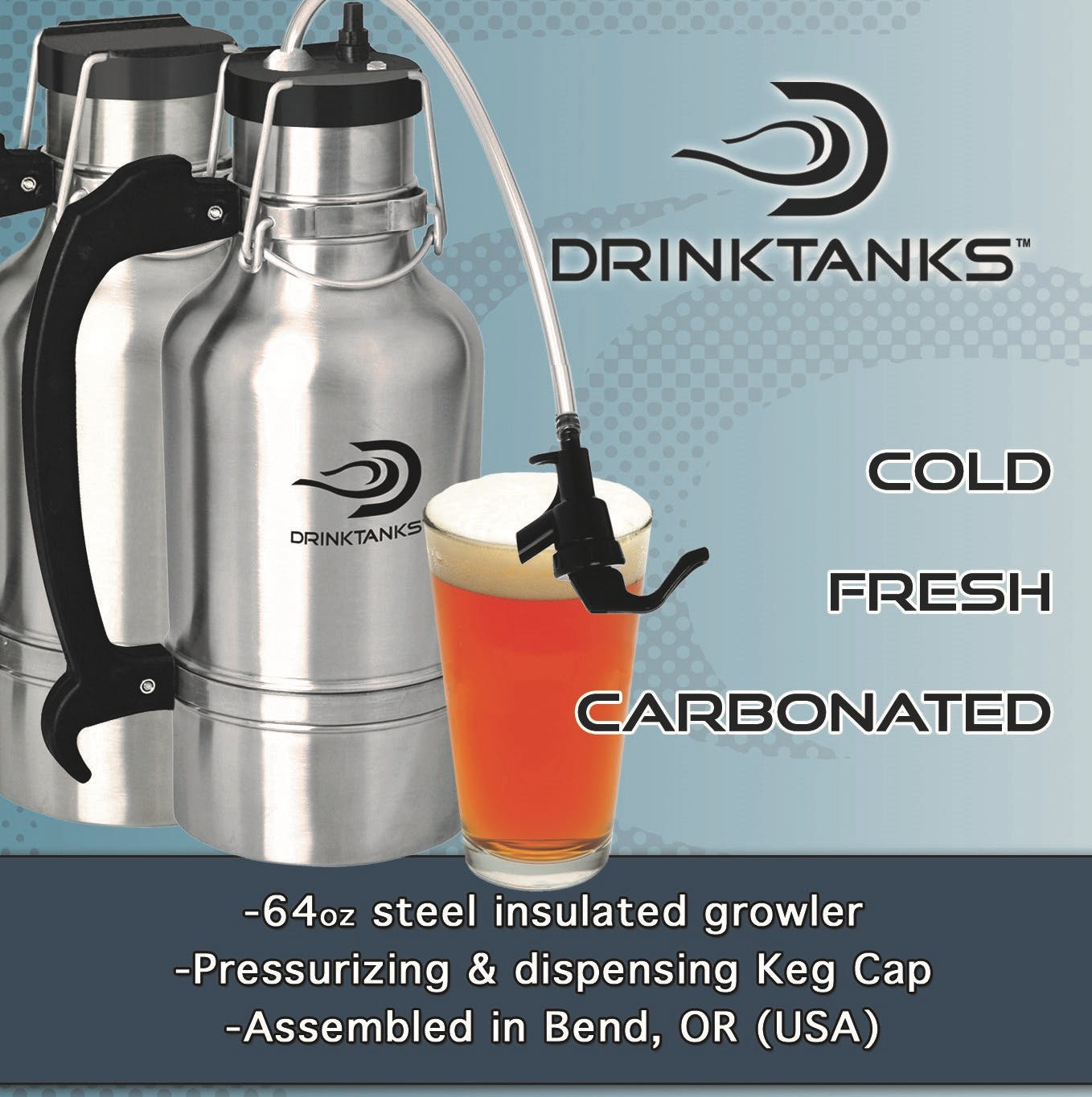 Drink Tanks Growler - Enjoy beer exactly as it was intended. Cold. Fresh. Carbonated. - 64oz Capacity Growler sold by Drink Tanks