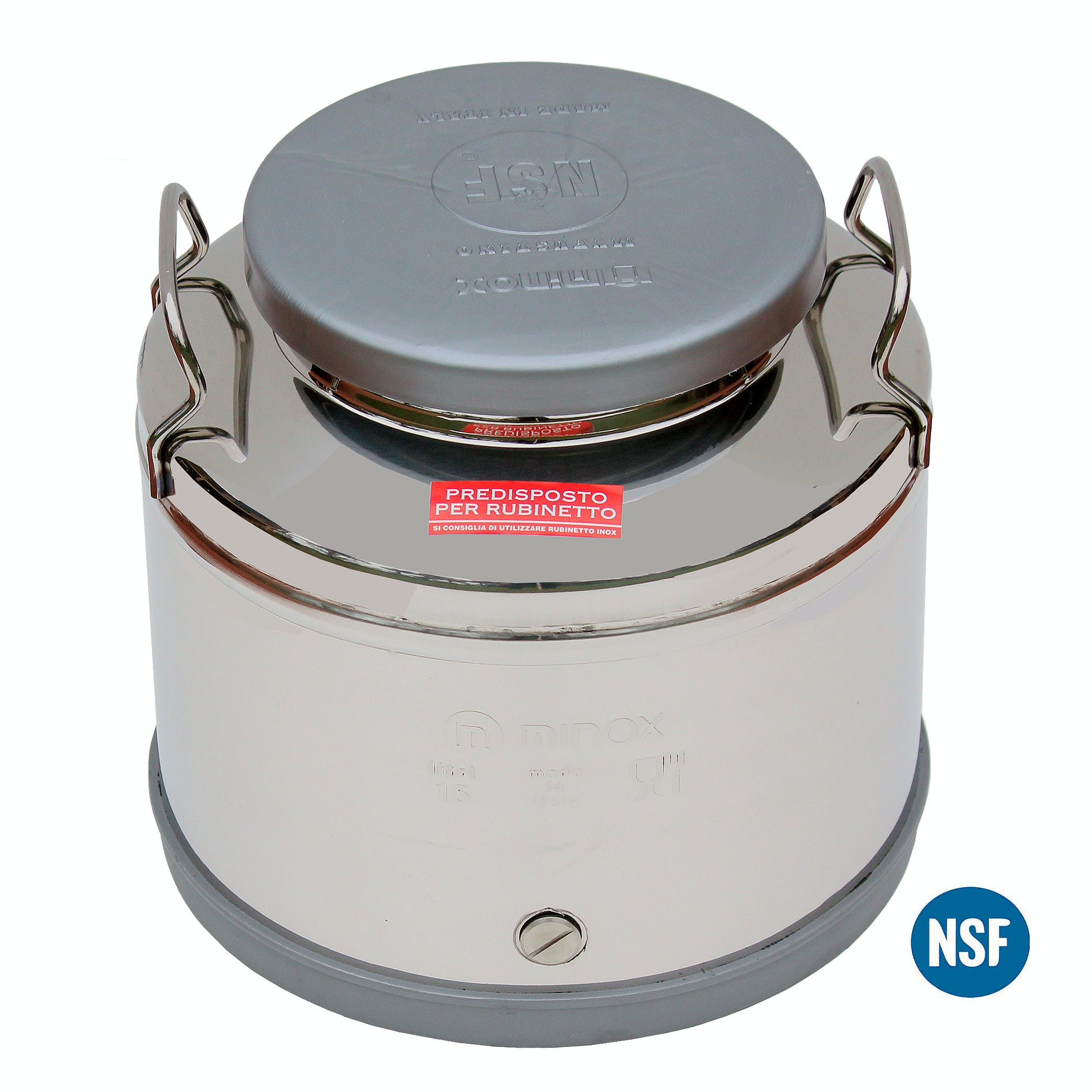 Italian Made Stainless Steel National Sanitary Foundation (NSF) Certified Fusti-15 Liters Steel fusto sold by M5 Corporation