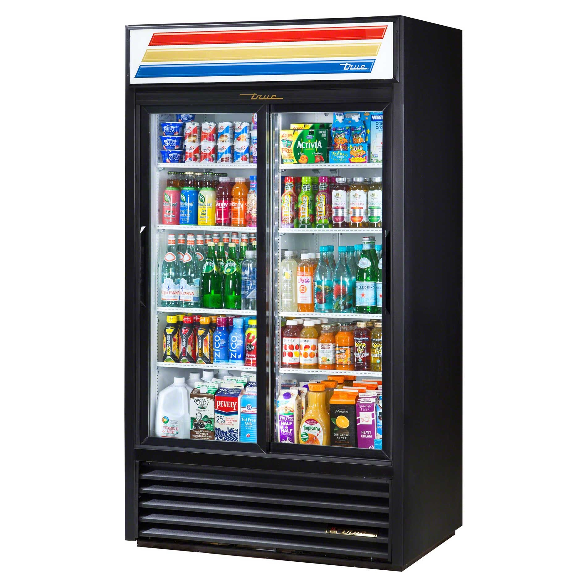 "True - GDM-37-LD 44"" Sliding Glass Door Merchandiser Refrigerator LED Commercial refrigerator sold by Food Service Warehouse"
