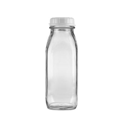 17 oz Clear Glass Tall Milk Bottles (Optional White Tamper-Evident Cap) Glass bottle sold by Freund Container & Supply