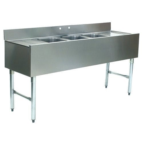 "Jaxpro BS3C60 | 3 Compartment Stainless Steel Underbar Sink w/ 13"" Left & Right Drainboards Under bar sink sold by Mission Restaurant Supply"