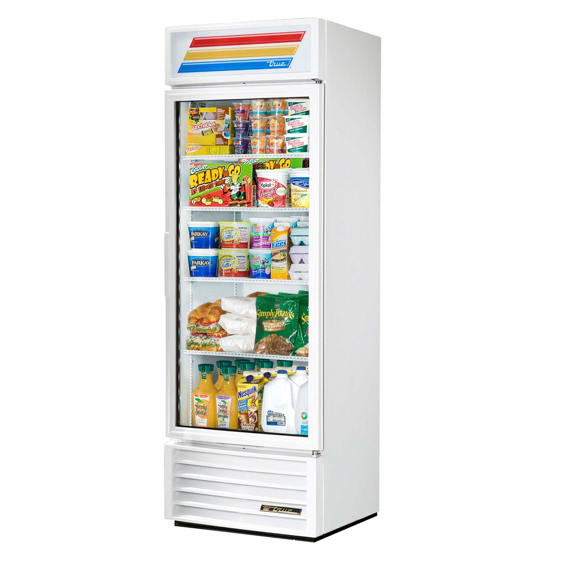 "True - GDM-19T-LD WHT WHTTRM 27"" Swing Glass Door Merchandiser Refrigerator LED Commercial refrigerator sold by Food Service Warehouse"