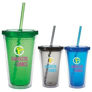 Good Value 18 Oz. Double Wall Honeycomb Tumbler W/ Straw Plastic cup sold by Dechan, Inc. II