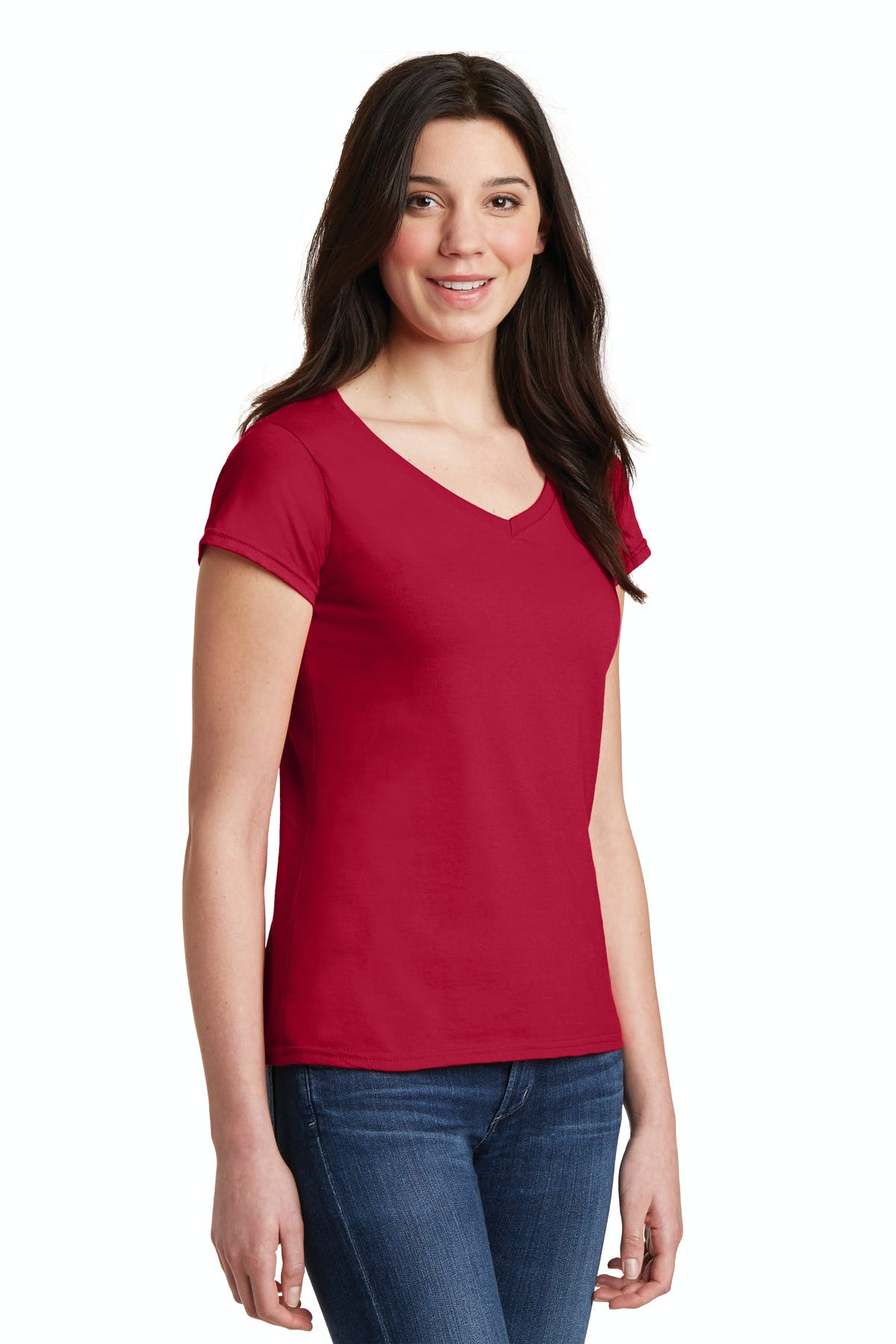 Gildan Softstyle® Junior Fit V-Neck T-Shirt - sold by PRINT CITY GRAPHICS, INC