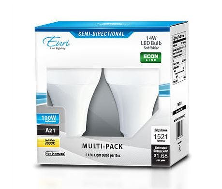Euri Lighting 14W A21 Directional LED Light Bulb, Pack of 2 - sold by RelightDepot.com