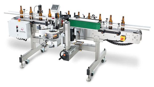 Low speed automatic pressure sensitive wraparound labeler Labeling machine sold by BPM SYSTEMS