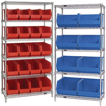 Wire Shelves with Bins Bin sold by Ameripak, Inc.