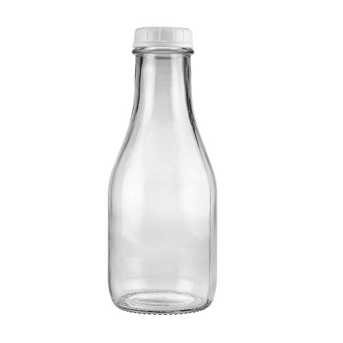 32 oz Clear Glass Milk Bottles (Optional White Tamper-Evident Cap) Glass bottle sold by Freund Container & Supply