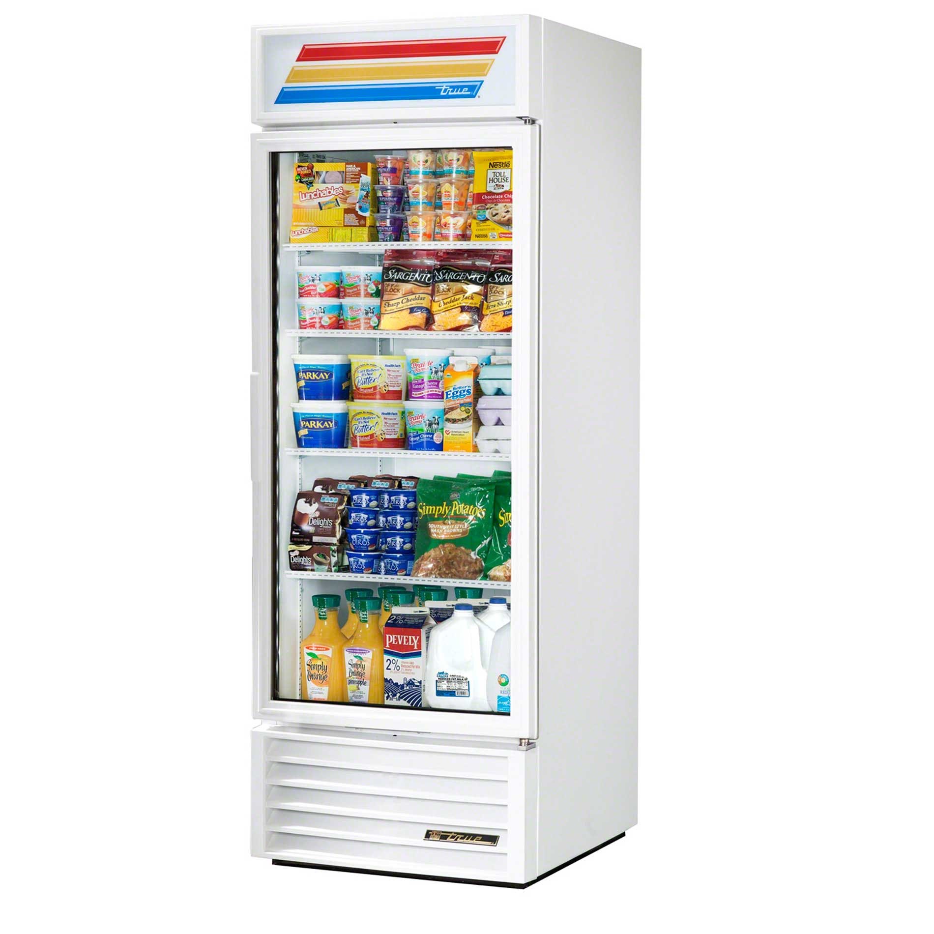 "True - GDM-23-LD WHT WHTTRM 27"" Swing Glass Door Merchandiser Refrigerator LED Commercial refrigerator sold by Food Service Warehouse"