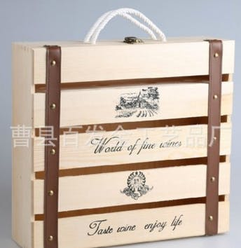 4 bottle wooden wine box Wine box sold by Luscan Group