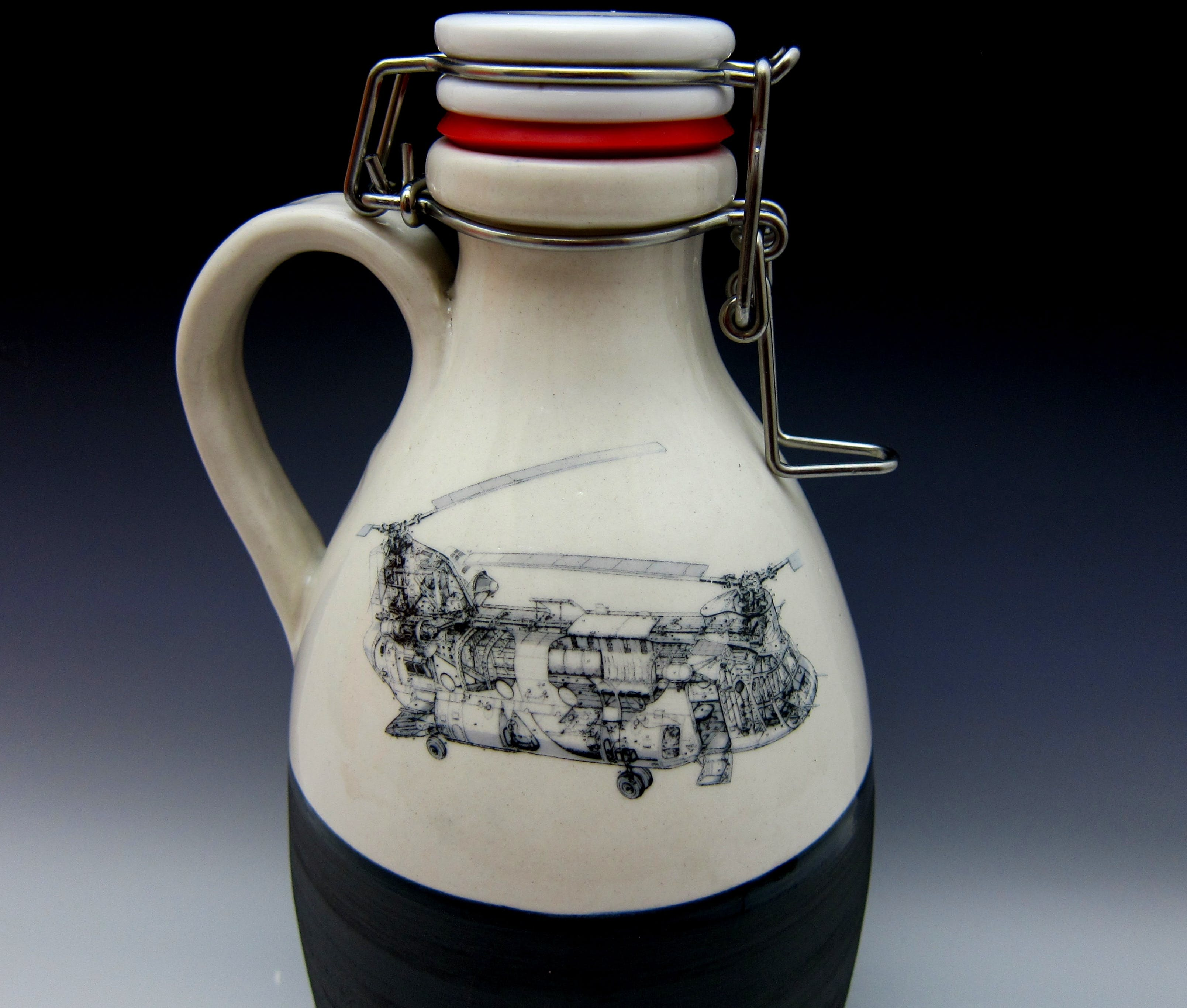 64oz Ceramic Growlers with logo Growler sold by Hand Crafted Growlers