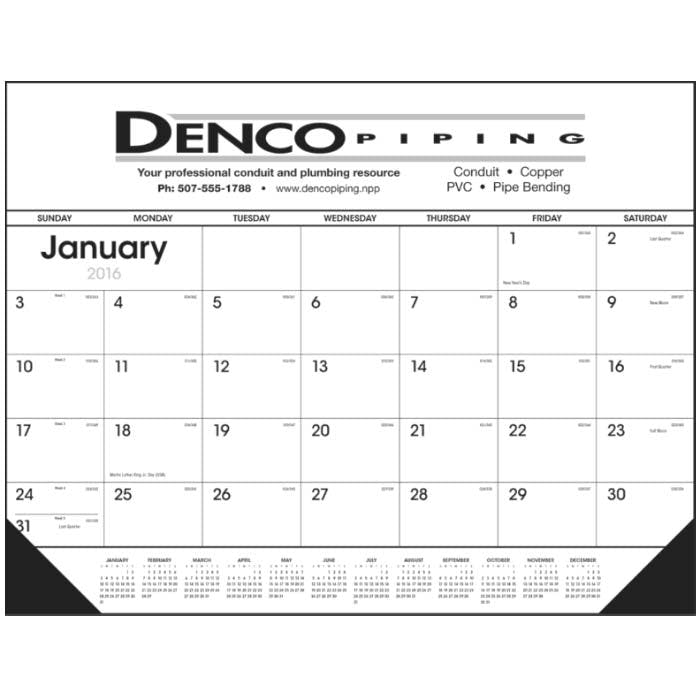 Norwood Promotional Products :: Product :: Black & White Desk Pad with Vinyl Corners Custom calendar sold by Distrimatics, USA