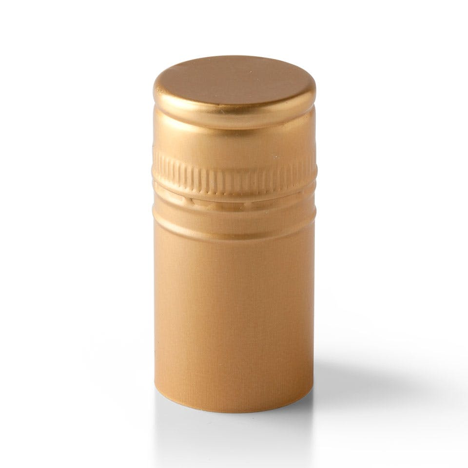Gold Stelvin Closure with Saranex Oxygen Barrier Bottle capsule sold by Packaging Options Direct