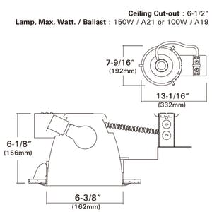 """6"""" Incandescent Horizontal Remodel Recessed Light Frame-in kit - sold by RelightDepot.com"""