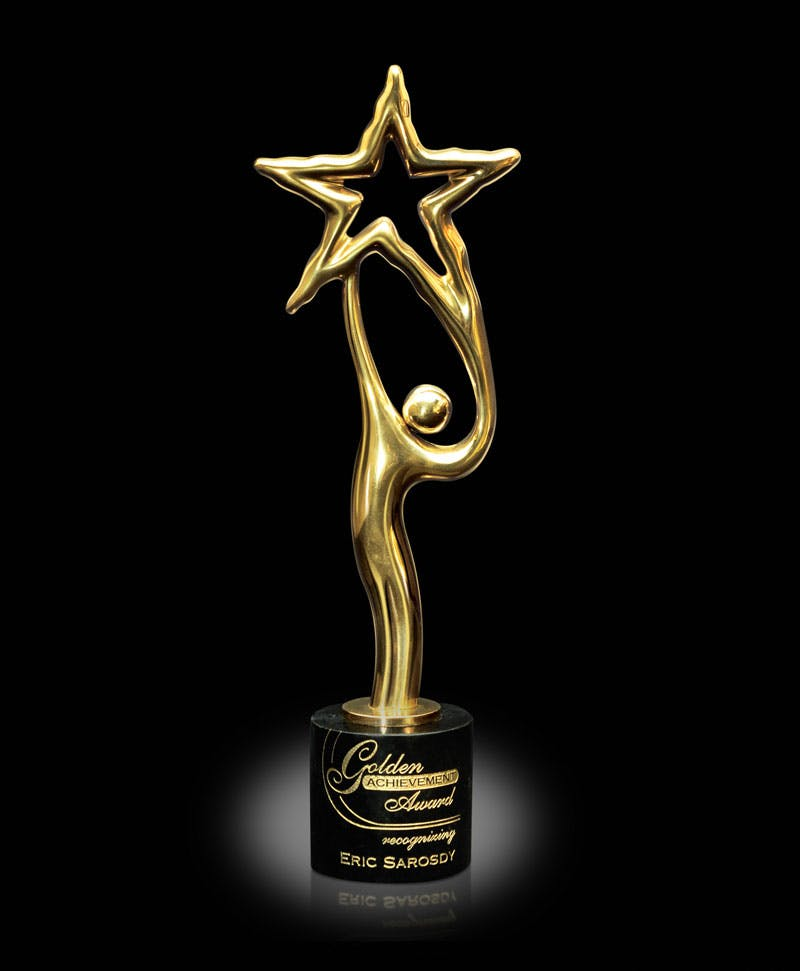 24 Carat Gold finished sculptor award Award sold by Distrimatics, USA