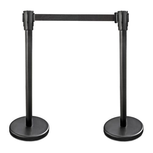 "New Star Foodservice 54590 Stanchions, 36"" Height, 6.5' Retractable Belt, Black Powder Coated (Pack of 2)"