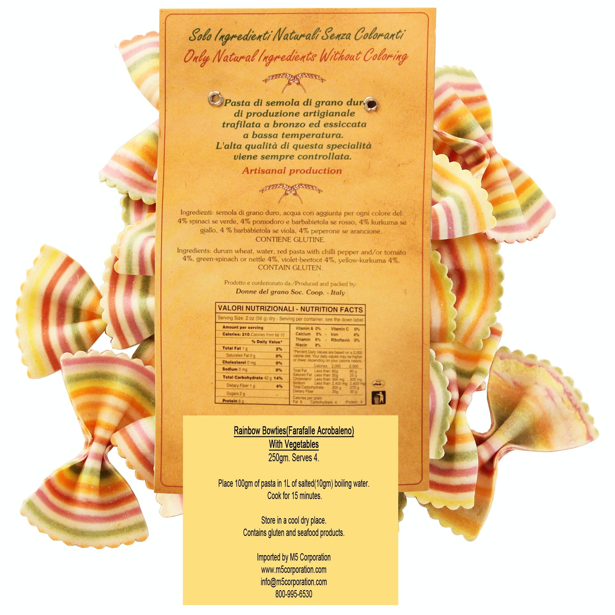 """Rainbow Bowties """"Faralle Aracobaleno"""" Colored Pasta - sold by M5 Corporation"""