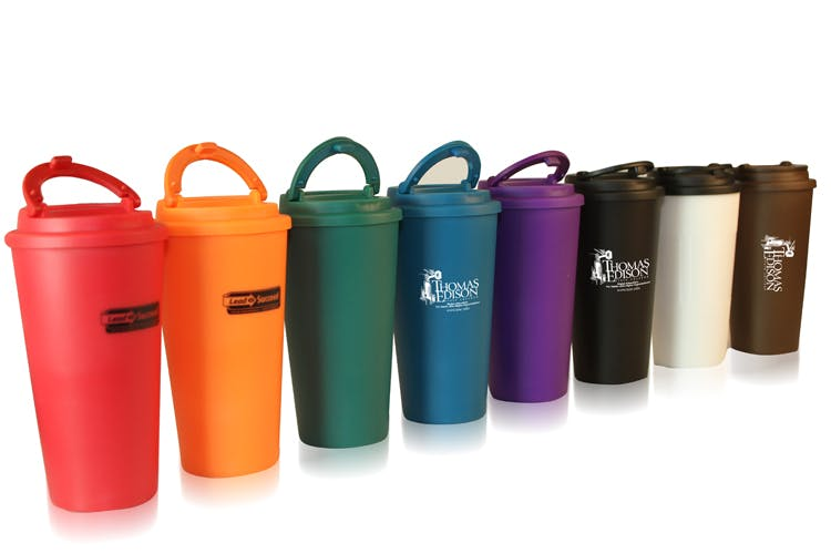 Tumbler with Lid and Handle (Item # EFKIR-IDXXE) Plastic cup sold by InkEasy